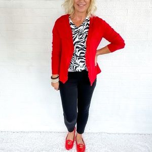 🍁👜 Kenneth Cole Reaction Red Ruffle Cardigan - S